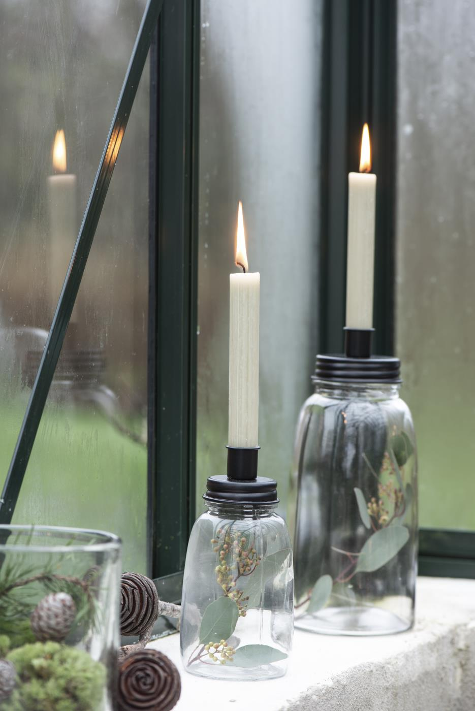 Kerzenhalter klein Stabkerze Metalldeckel