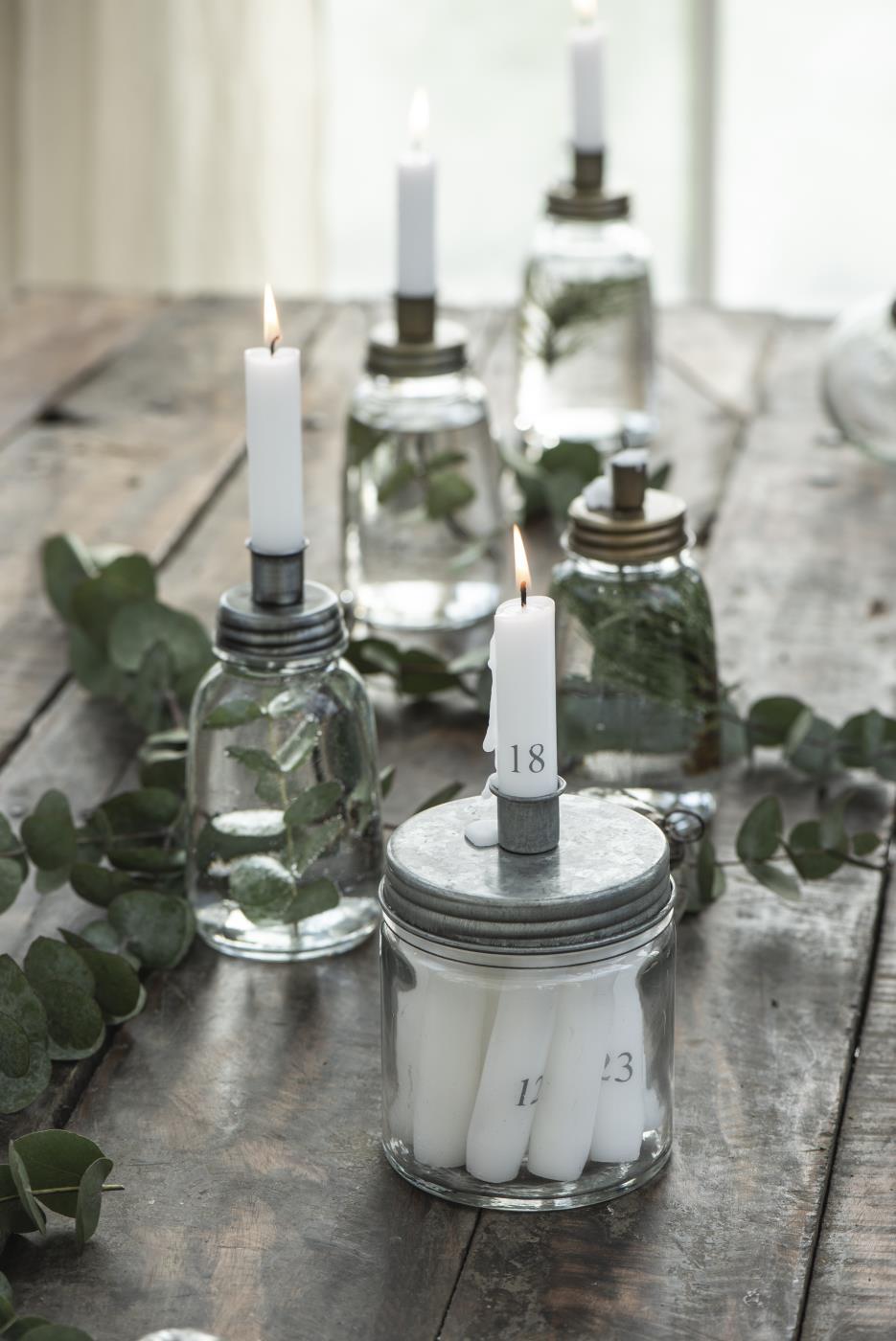 Kerzenhalter f/Stabkerze Metalldeckel niedrig