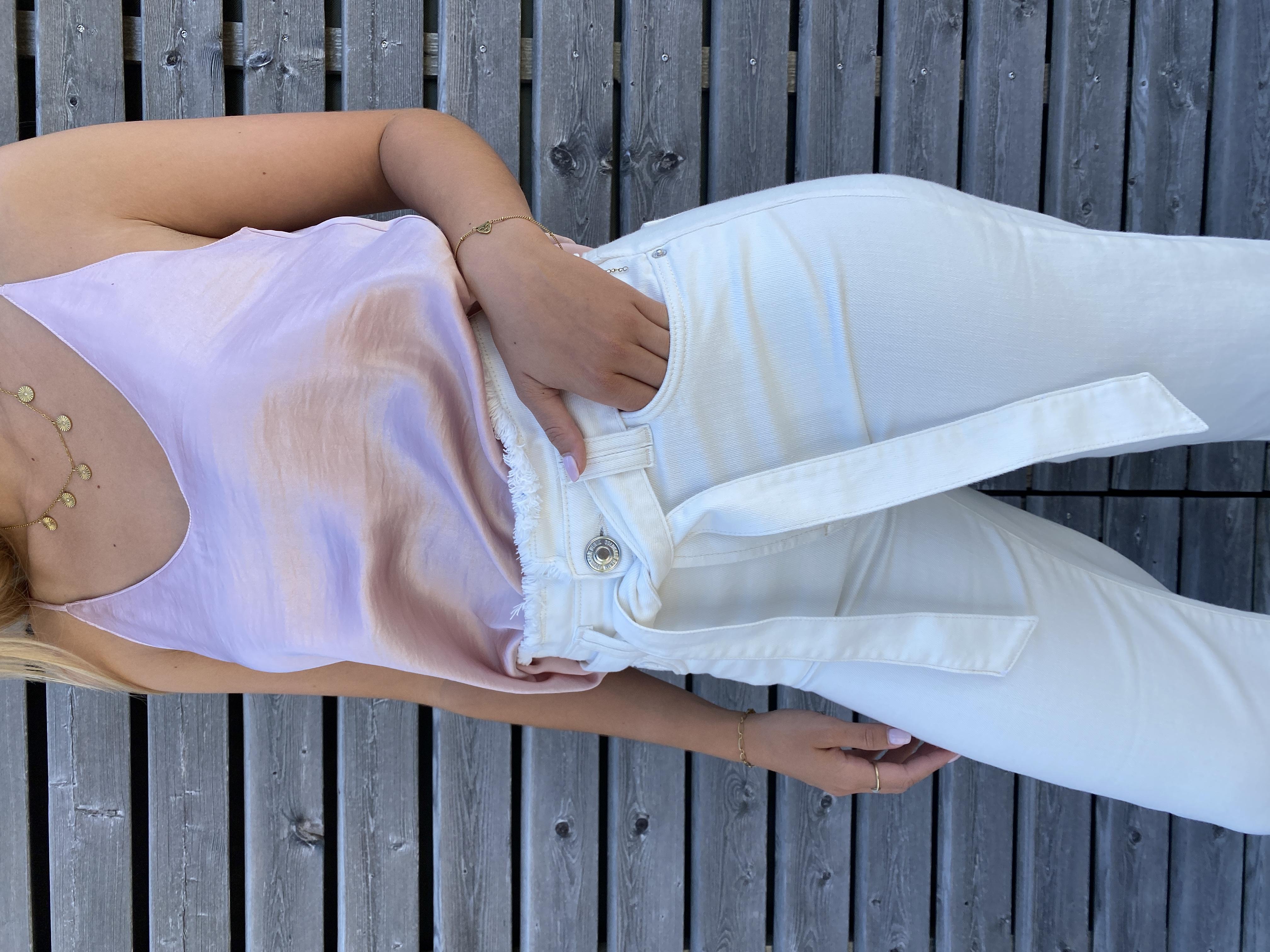 Hose Luisa white  - Goldgarn